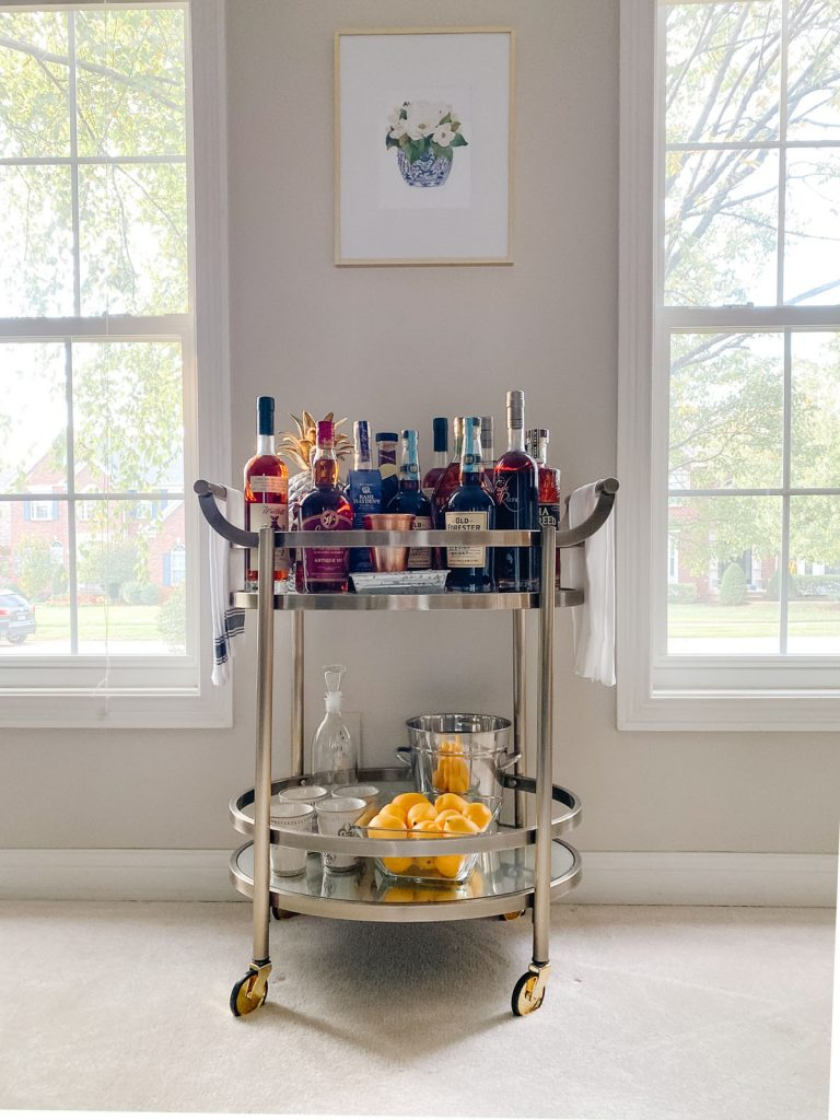 Budget friendly bourbon bar cart