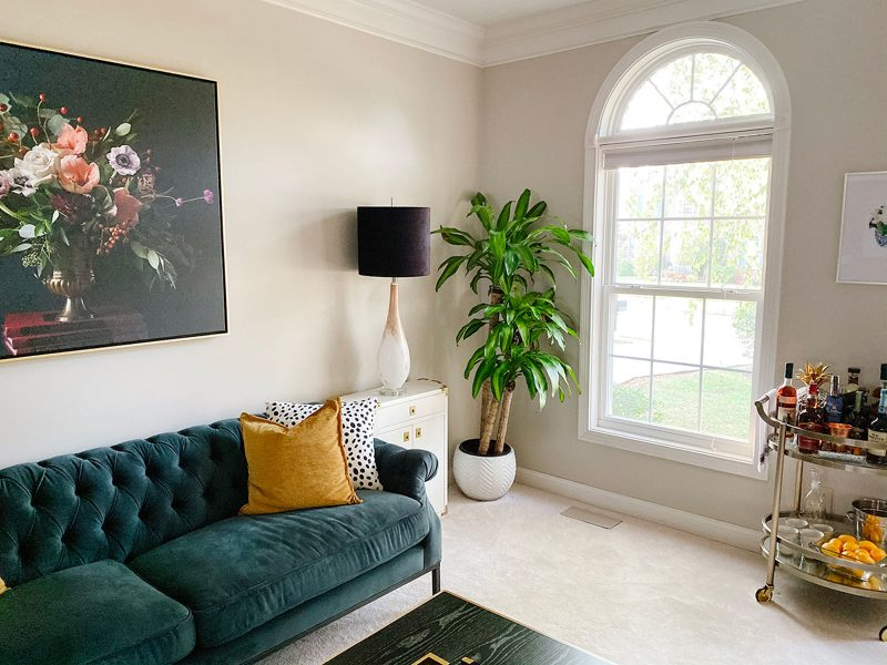 A room that combines dark and moody pieces in an airy transitional setting