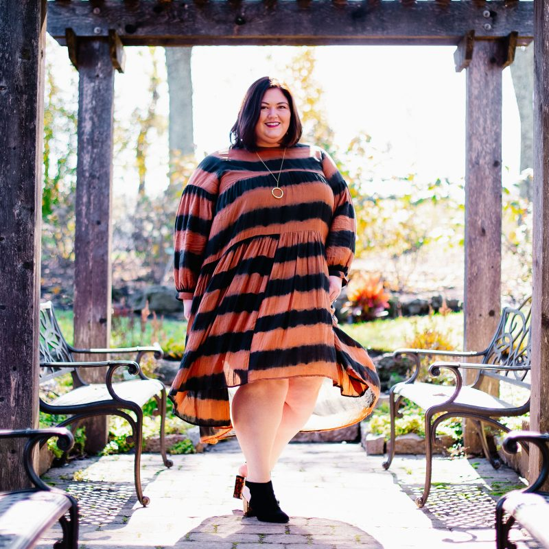 Anthropologie plus size orange and black dress