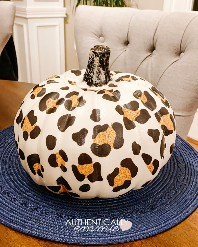 DIY Leopard Print Pumpkin tutorial using temporary tattoos