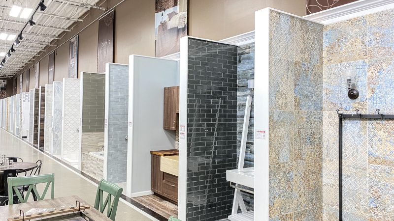 Bathroom displays at Floor and Decor