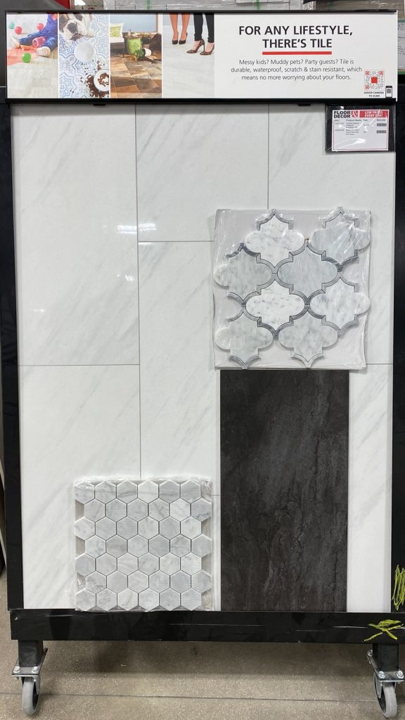 Master bathroom tile ideas from Floor and Decor - marble and porcelain
