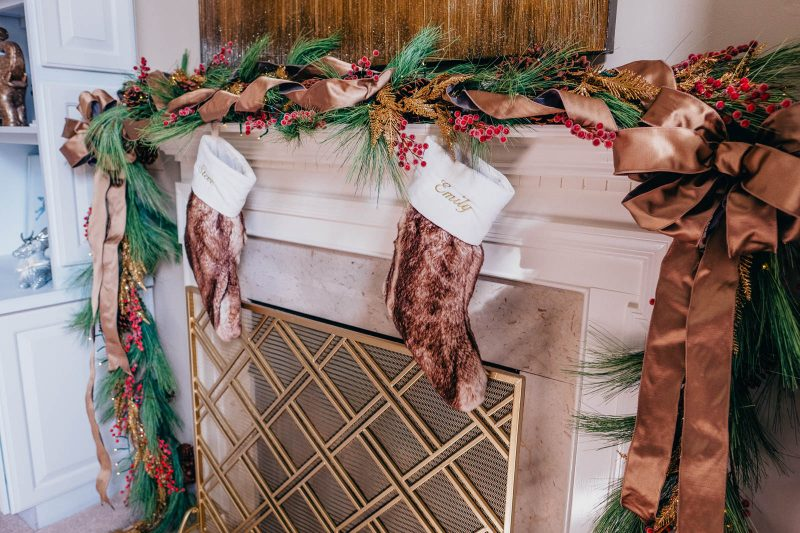 Fireplace mantle decoration - long needle pine, gold, and berries