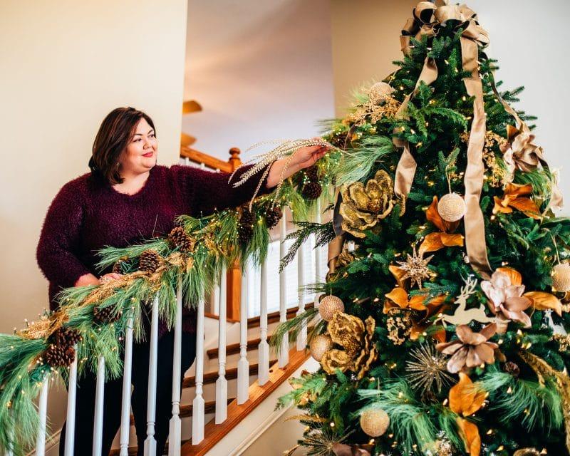 Decorating a magnolia Christmas tree
