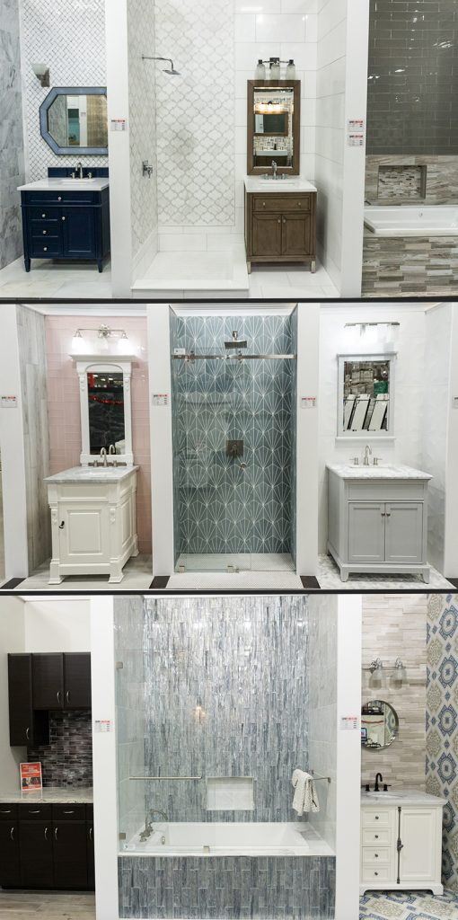 Bathroom displays with tile at Floor and Decor in Louisville