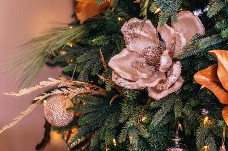 Gold magnolia themed Christmas tree