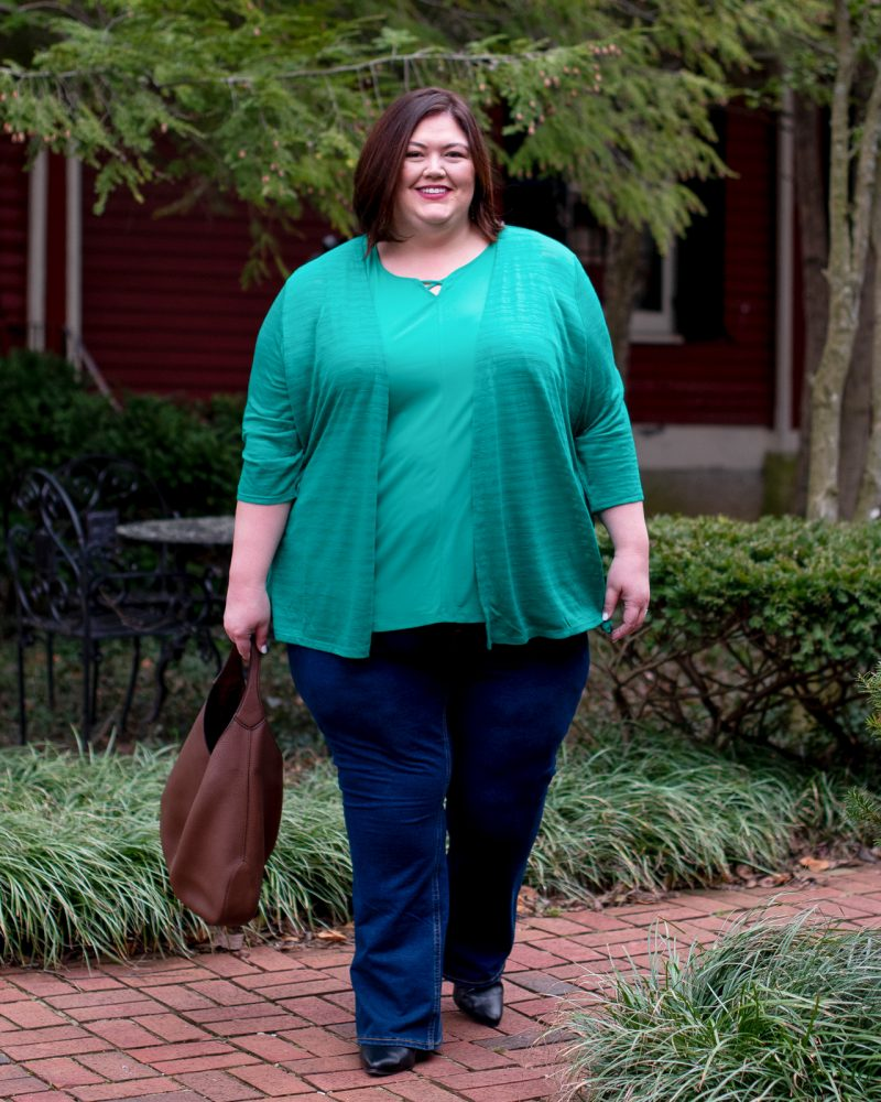 Spring plus size outfit with a green cardigan set from Catherines