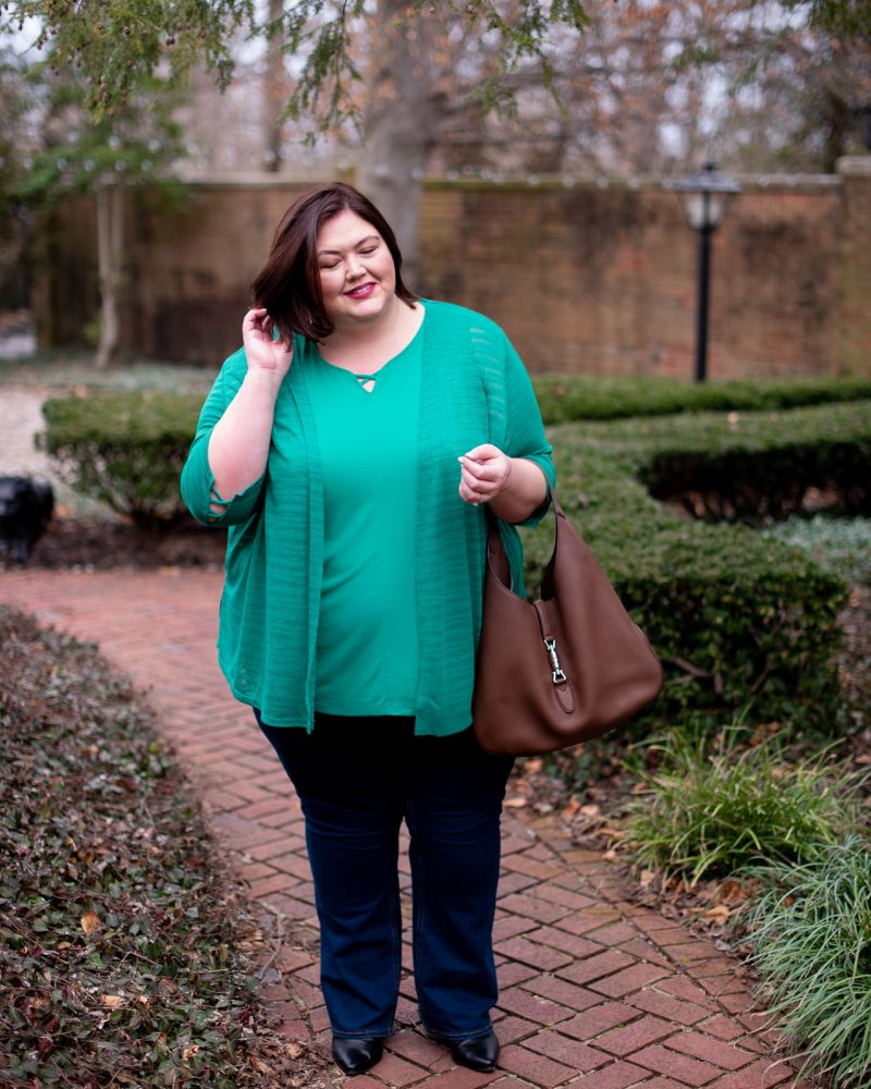 Green tank and cardigan set with jeans from Catherines plus sizes