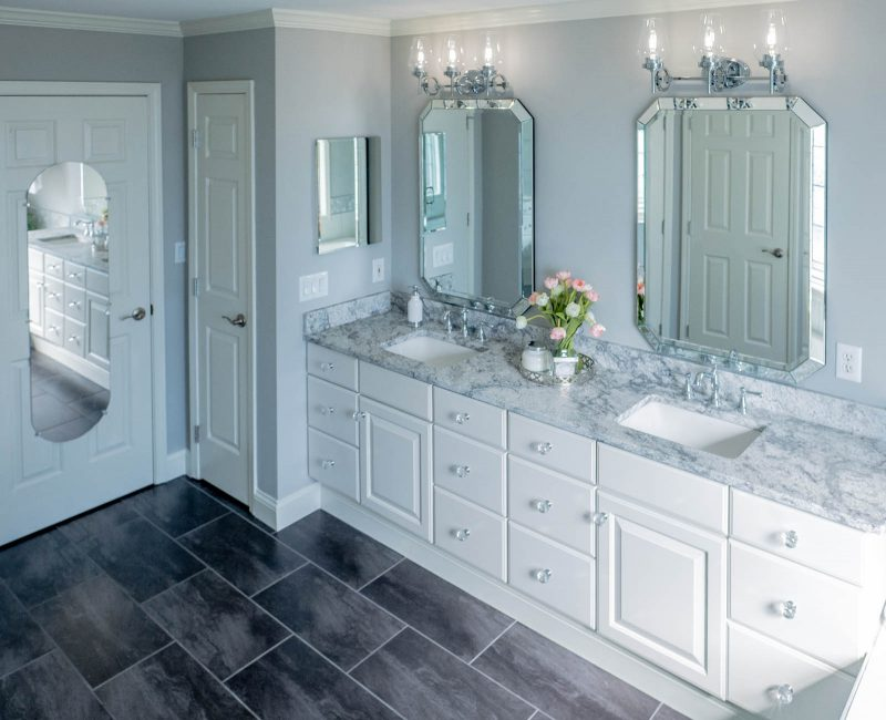 Master bathroom renovation reveal - gray, white, and chrome finishes