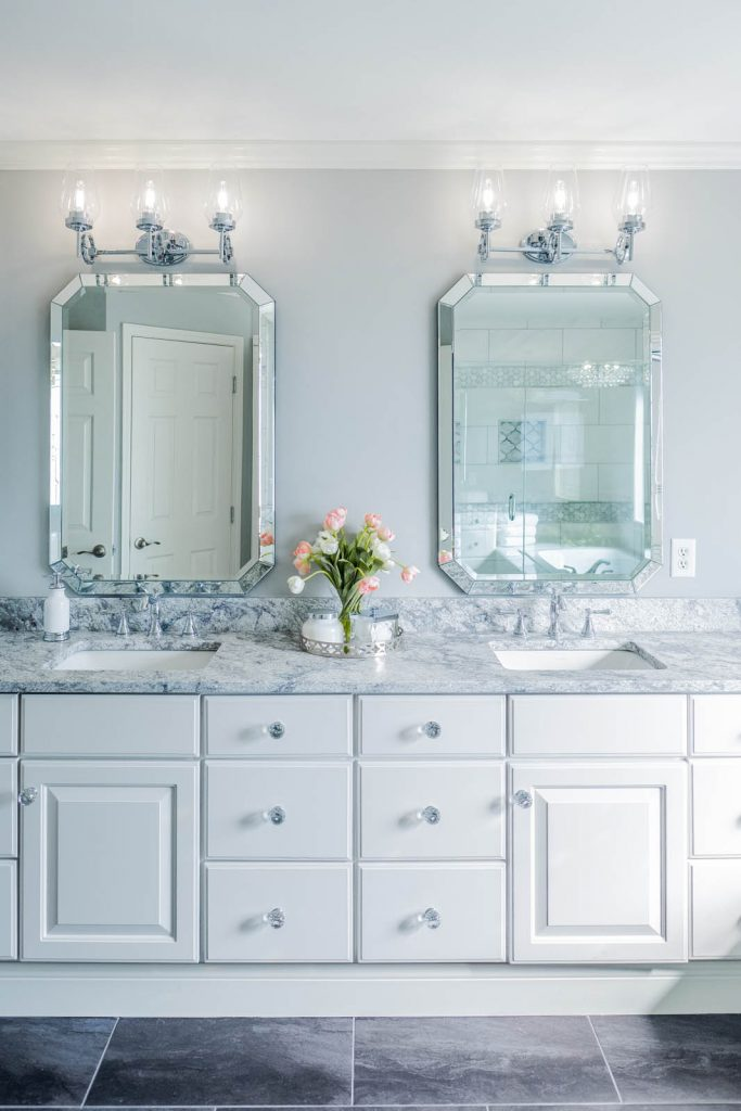 Light and airy gray and white master bathroom renovation