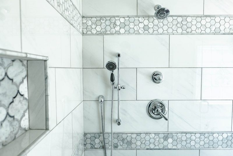 Master bathroom shower tile layout with Floor and Decor tile and Delta shower system