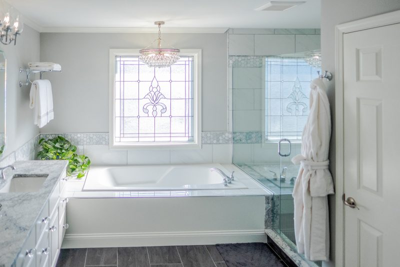 Bright and airy transitional master bathroom remodel