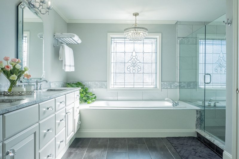 Clean and fresh remodeled master bathroom with tile from Floor & Decor