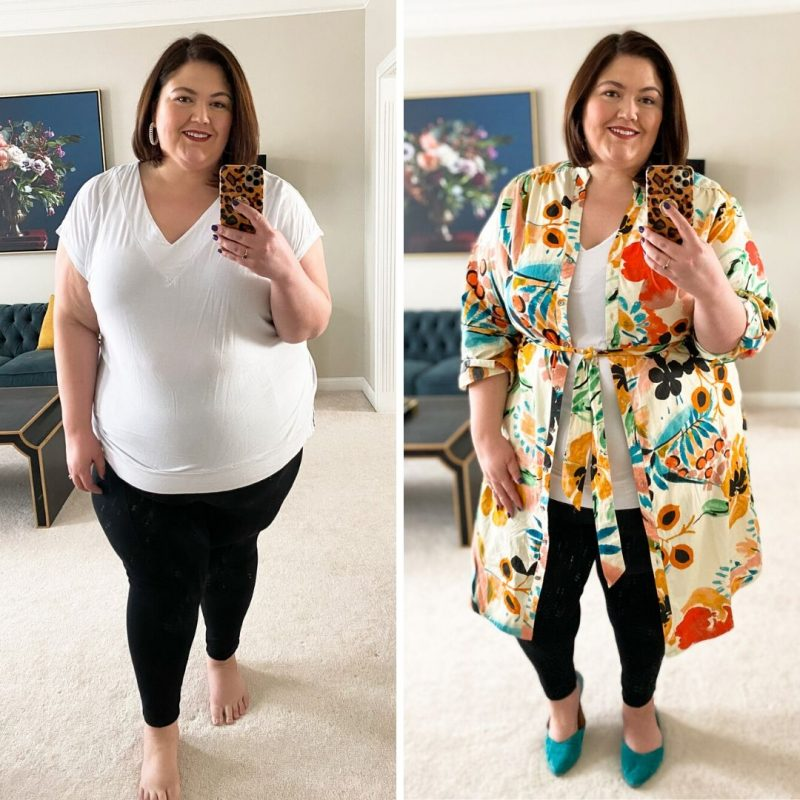 Plus size influencer Authentically Emmie in an Anthropologie shirt dress worn as a topper
