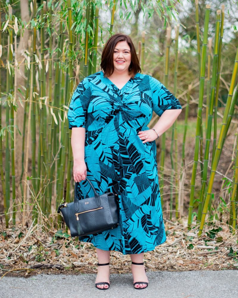 Palm print maxi dress on plus size influencer Authentically Emmie