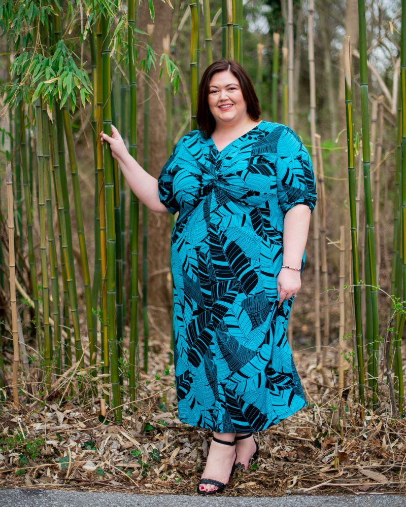 Teal and black palm print maxi dress from Catherines on plus size influencer Authentically Emmie