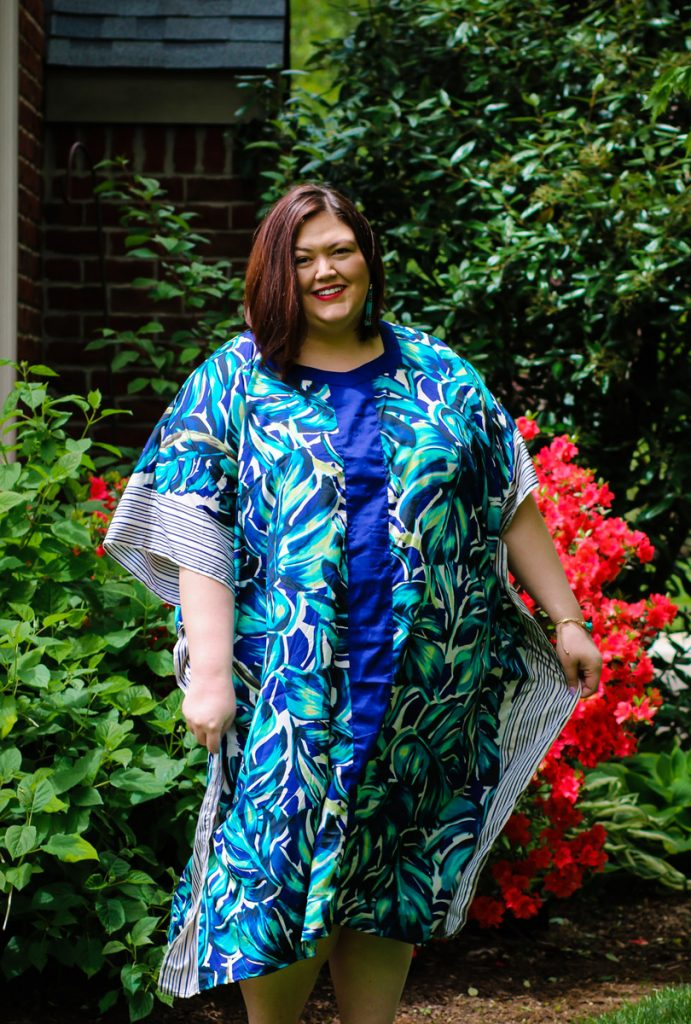 Plus size blue printed caftan