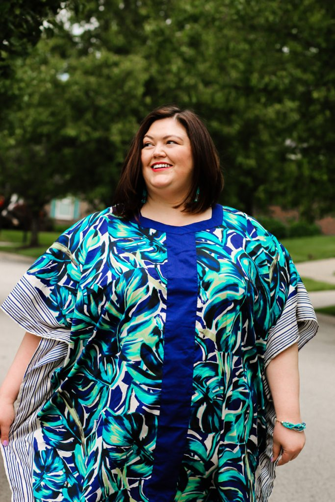 A blue printed caftan from Catherines for a easy summer outfit.