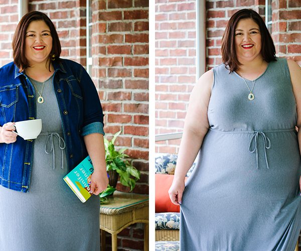 A gray maxi plus size dress that can be worn different ways