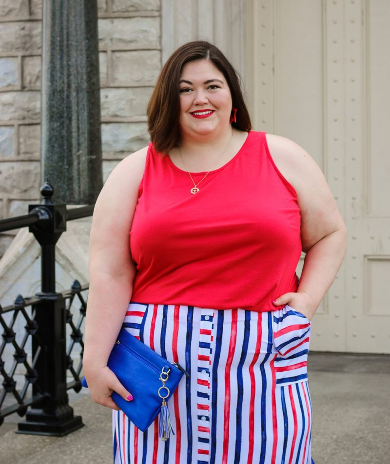 A red, white, and blue plus size outfit from Lane Bryant