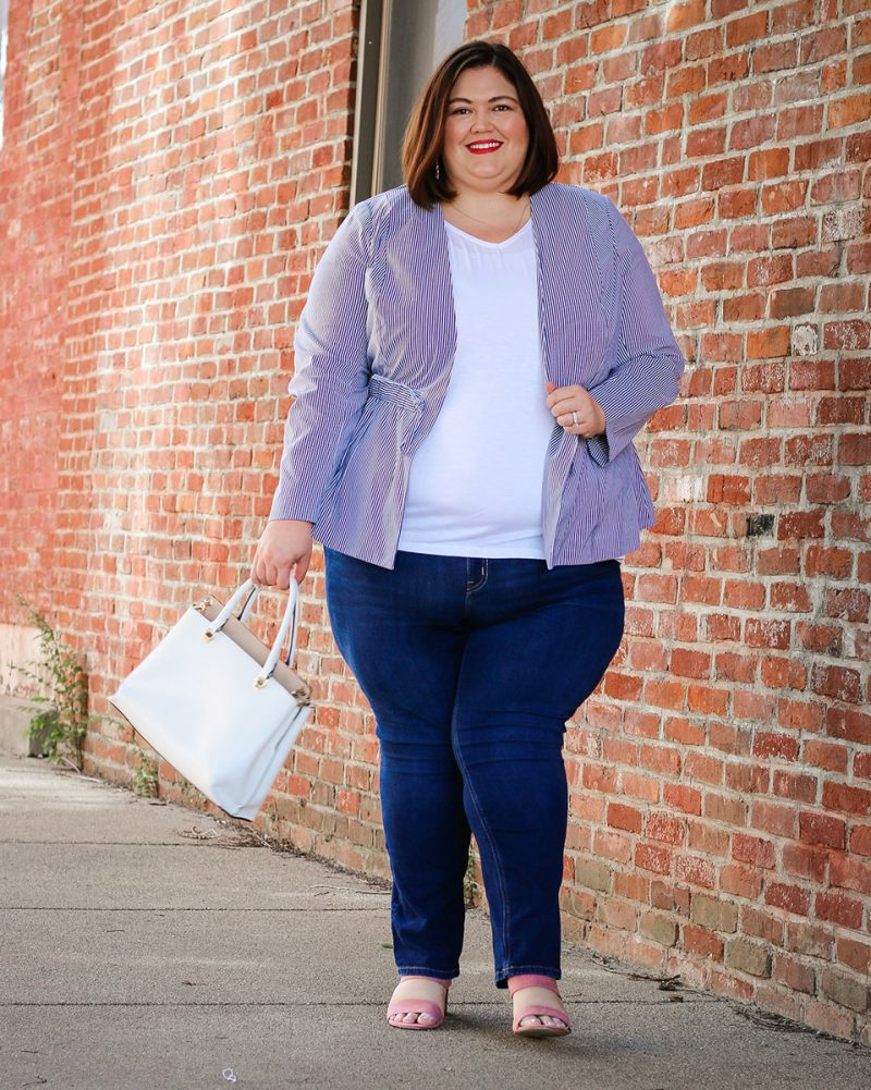 Louisville influencer Emily Ho of Authentically Emmie in a plus size summer outfit from Lane Bryant