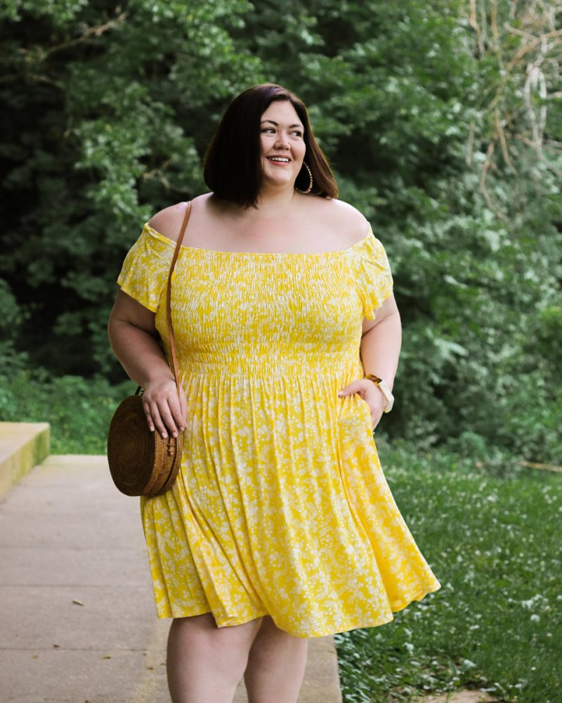 A pretty yellow floral off-the-shoulder dress in plus sizes from Lane Bryant