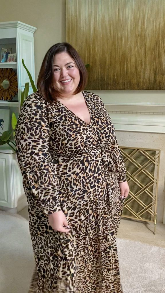 Leopard print maxi dress from Eloquii Unlimited rental on plus size influencer Authentically Emmie