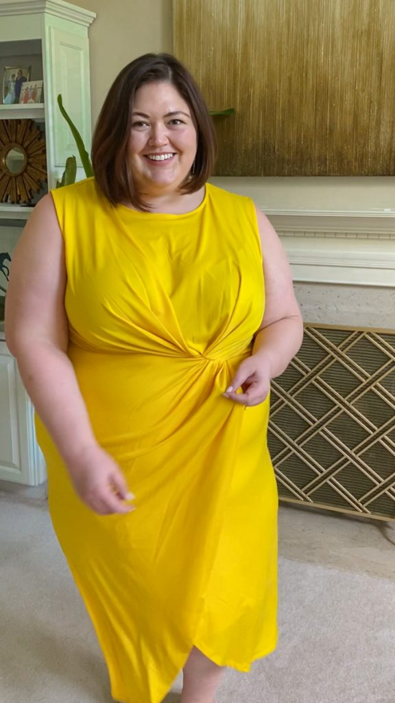 Bright yellow dress from Eloquii Unlimited rental on plus size influencer Authentically Emmie