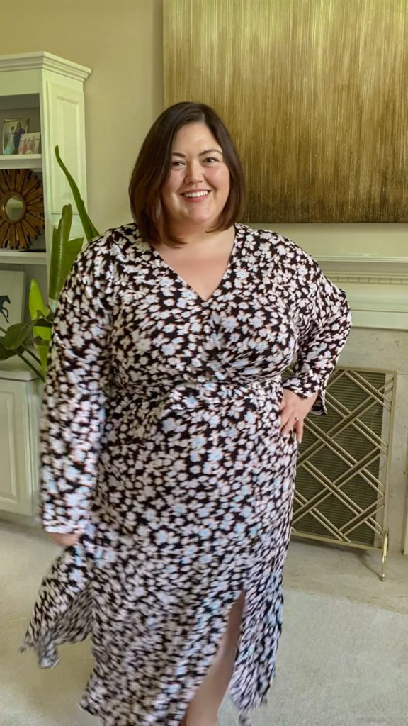 Maxi dress from Eloquii Unlimited rental on plus size influencer Authentically Emmie