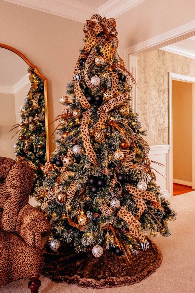 Finished Christmas tree with animal print theme