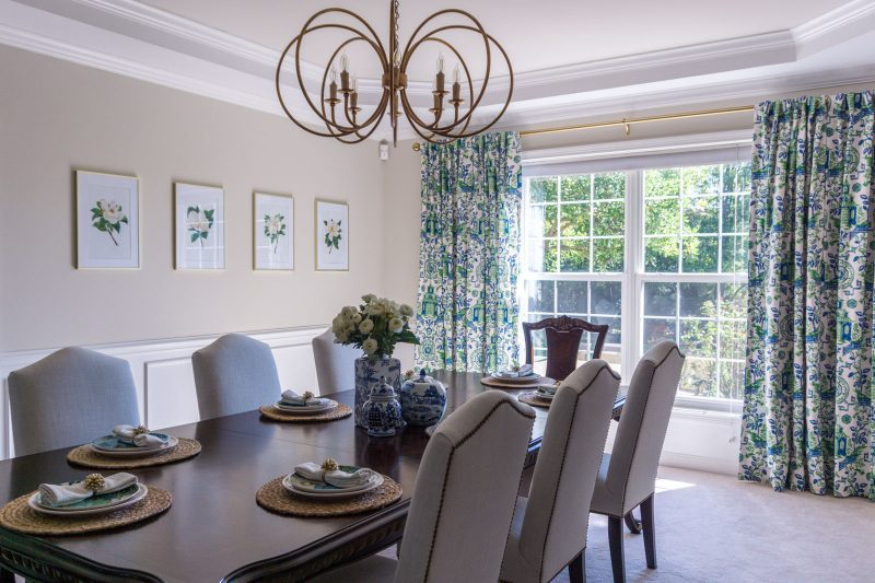 Blue and green dining room makeover