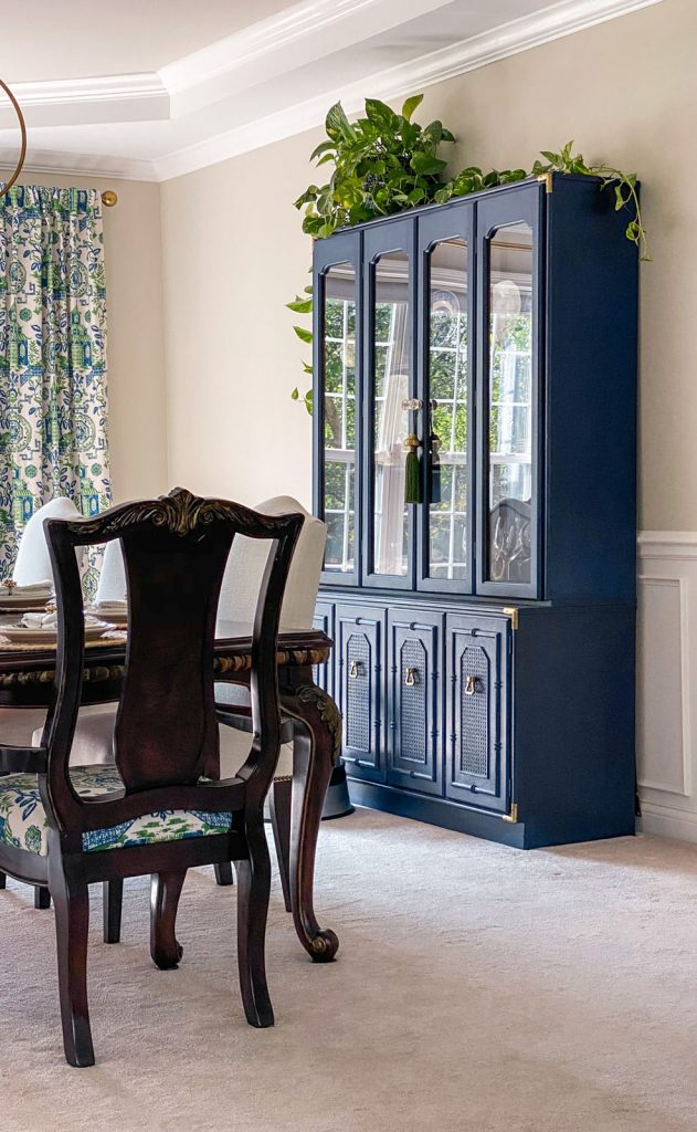 Blue china cabinet with bamboo and rattan detail, Chinoiserie style
