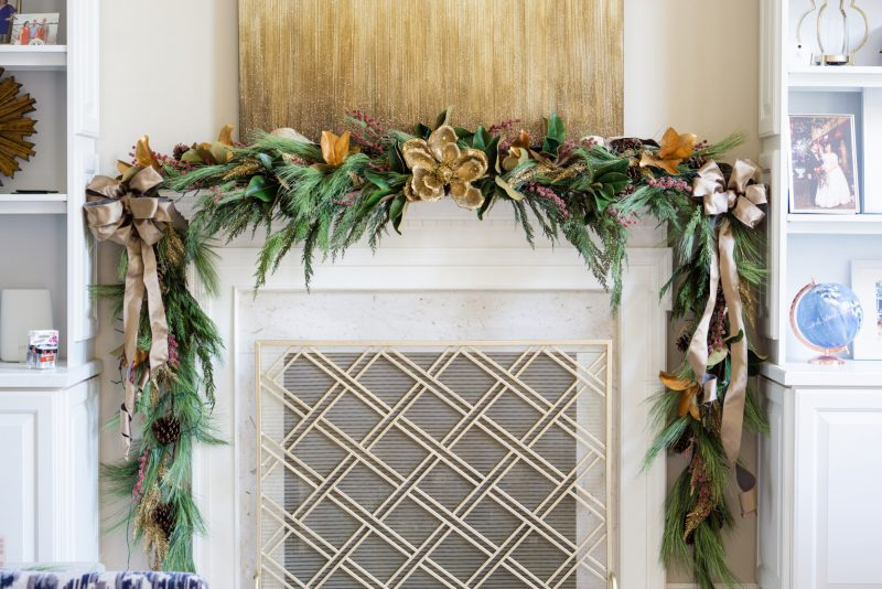 Fireplace mantel decoration for Christmas