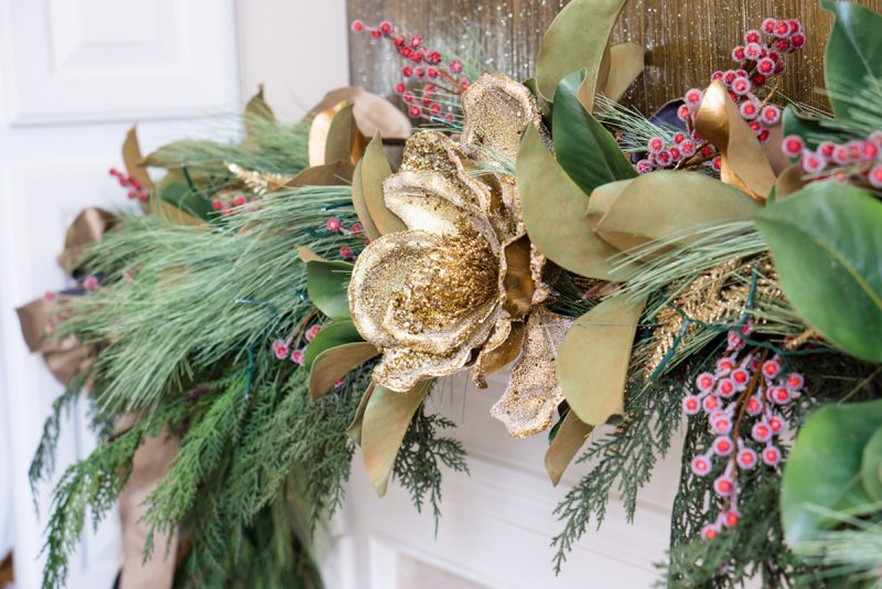 Gold and green Christmas mantle decoration
