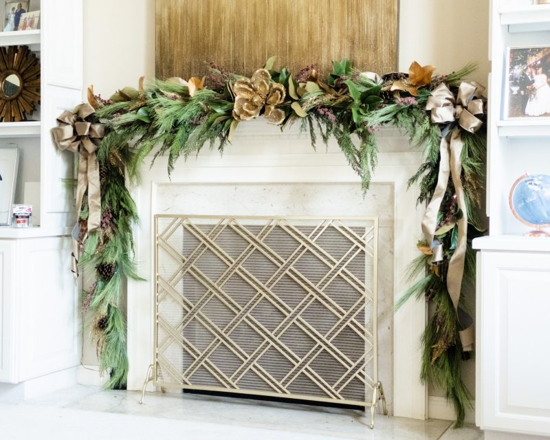 Fireplace mantel decoration for the holidays