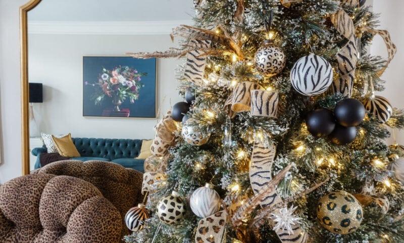 Animal print Christmas tree detail ornaments