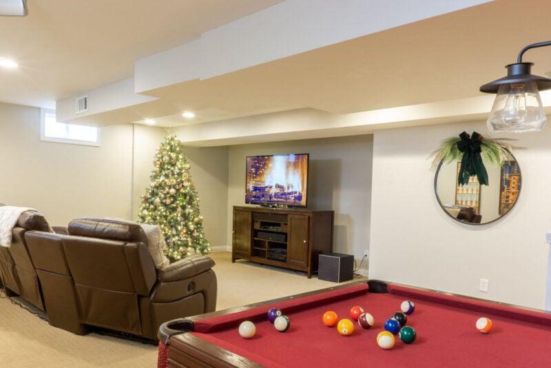 Rec room Christmas decorations