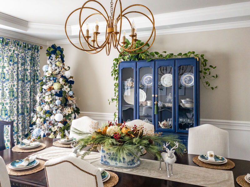 Chinoiserie blue and white dining room Christmas tree