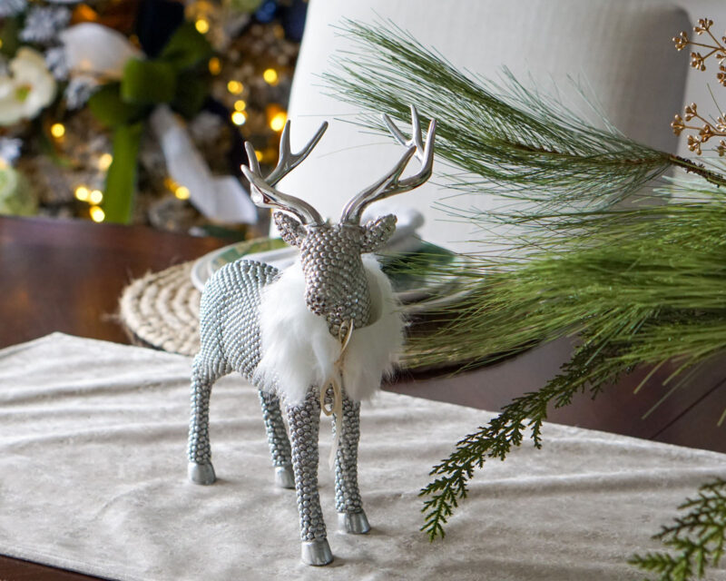 Shiny reindeer decoration with faux fur collar
