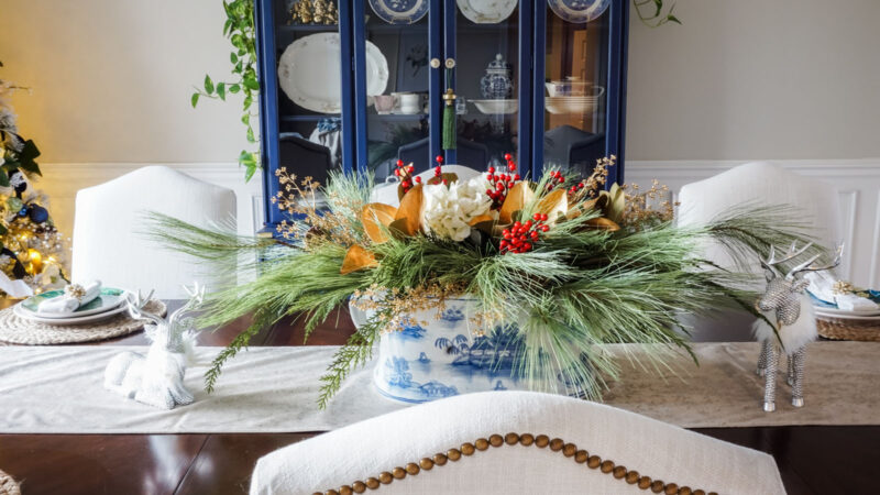 Holiday centerpiece in blue and white footbath