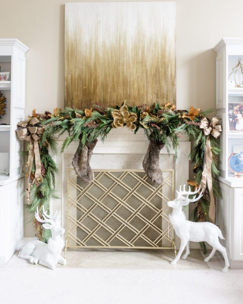 Pine, cedar, and magnolia fireplace mantle garland