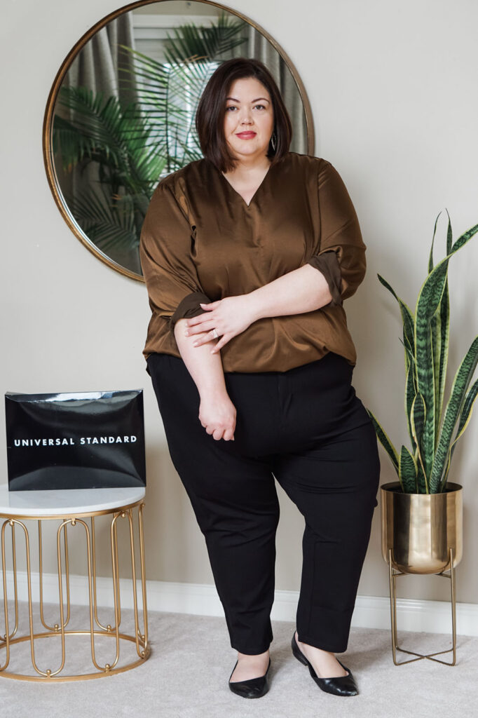 Universal Standard Mystery Box items on plus size influencer Authentically Emmie