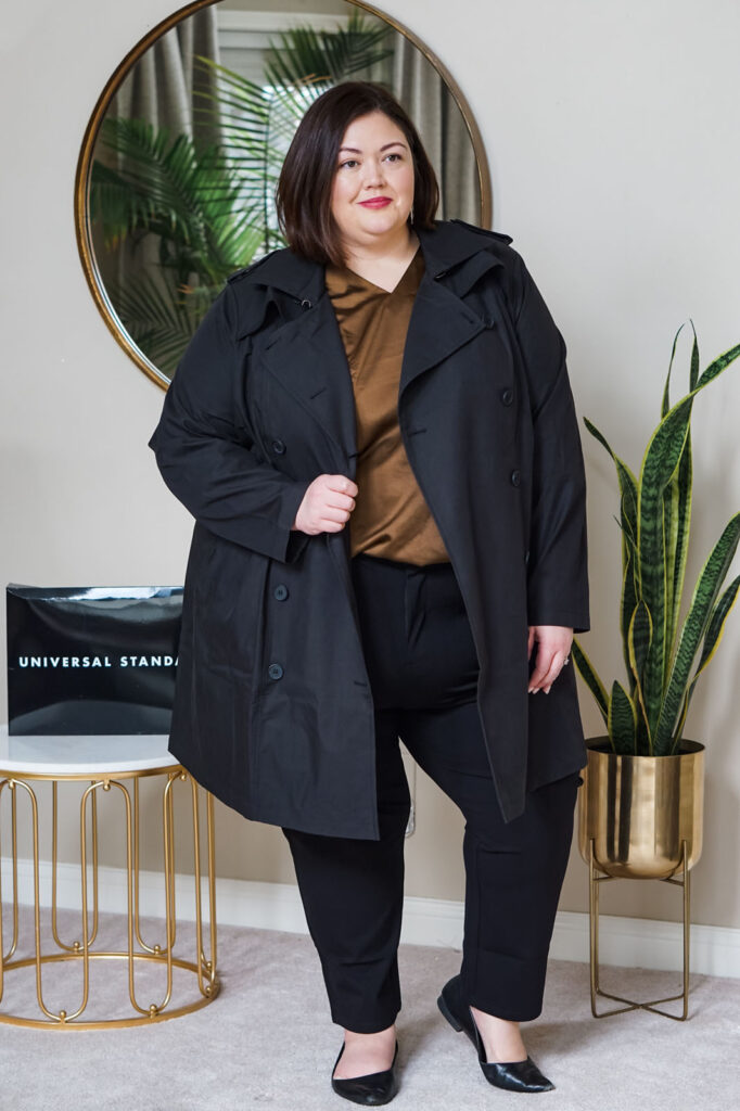Plus size trench coat, satin shirt, trousers from Universal Standard