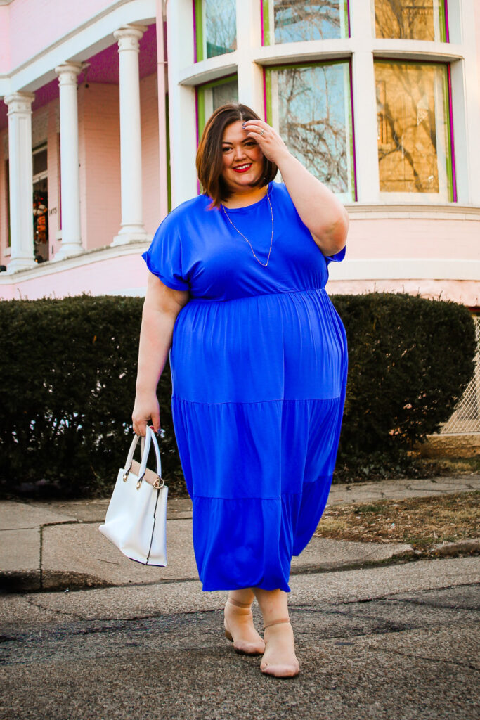 Louisville plus size influencer Authentically Emmie in a spring dress from Lane Bryant