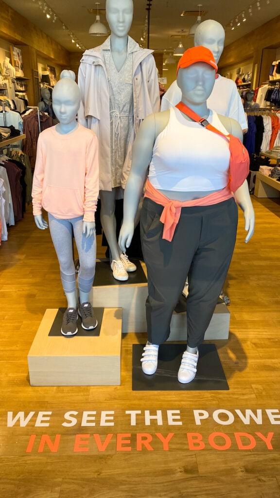 Athleta plus size mannequins in-store