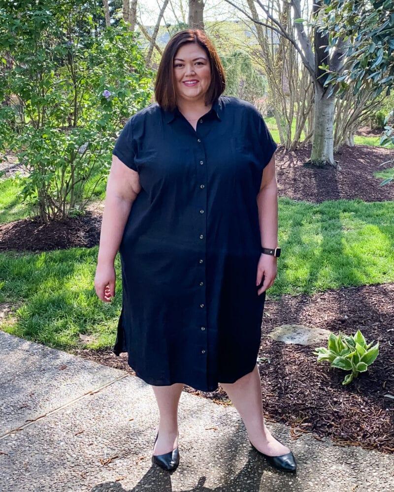 Universal Standard Linen Shirt Dress in black