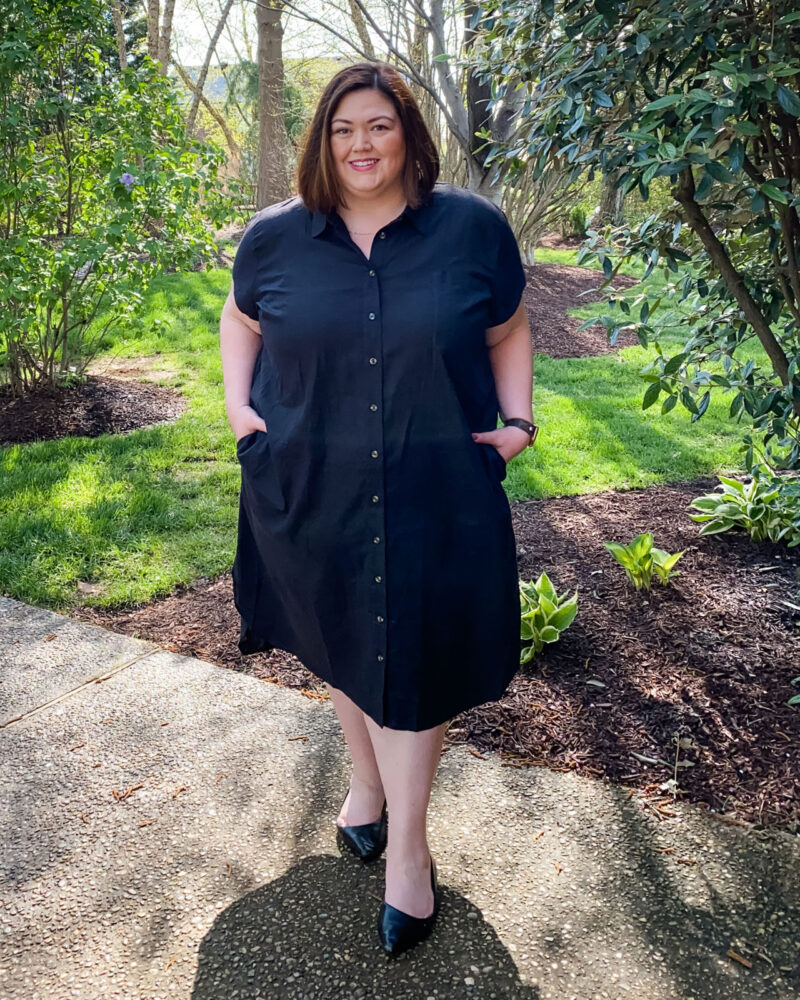 Universal Standard Linen Shirt Dress on plus size blogger Authentically Emmie