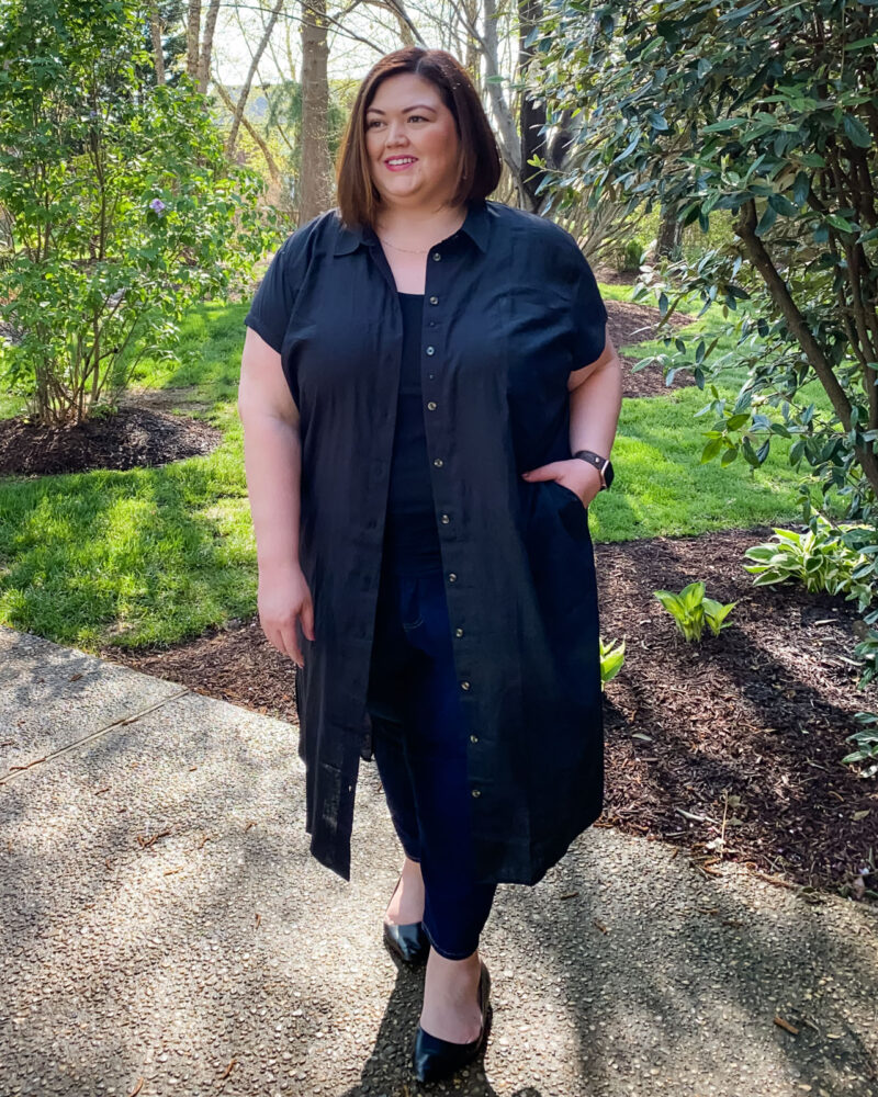 Shirt dress over jeans and a tank top for a casual plus size outfit