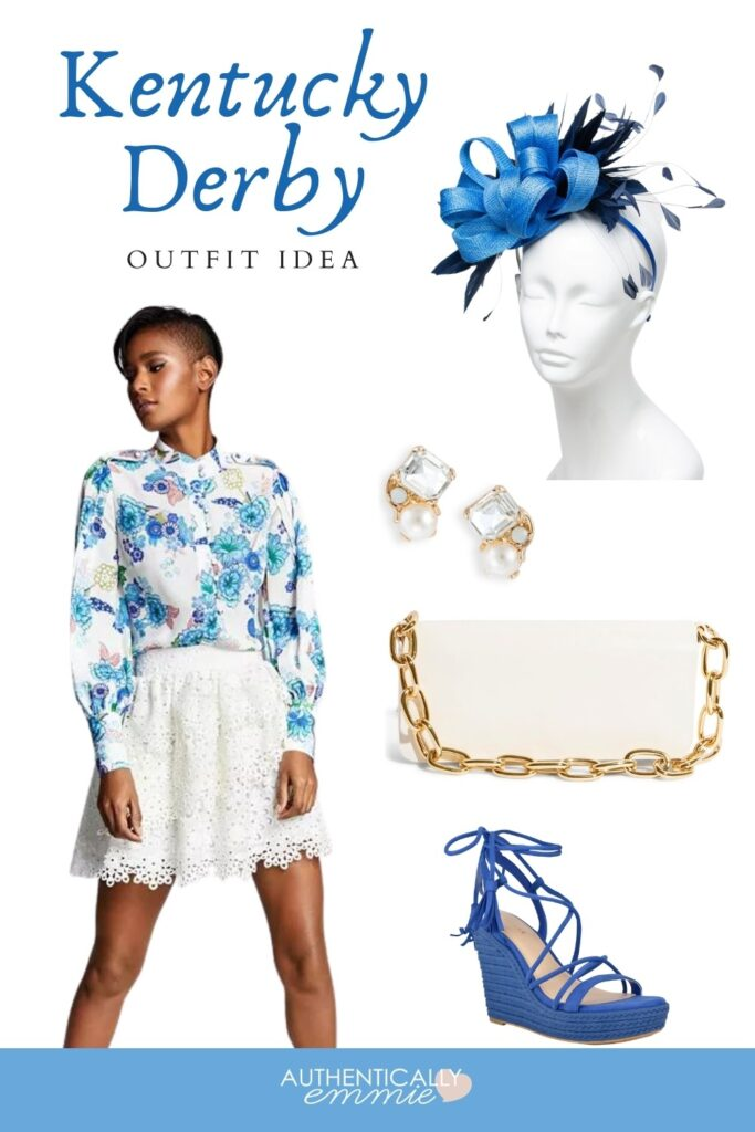 Kentucky Derby woman's outfit idea in plus sizes featuring eyelet lace and blue florals