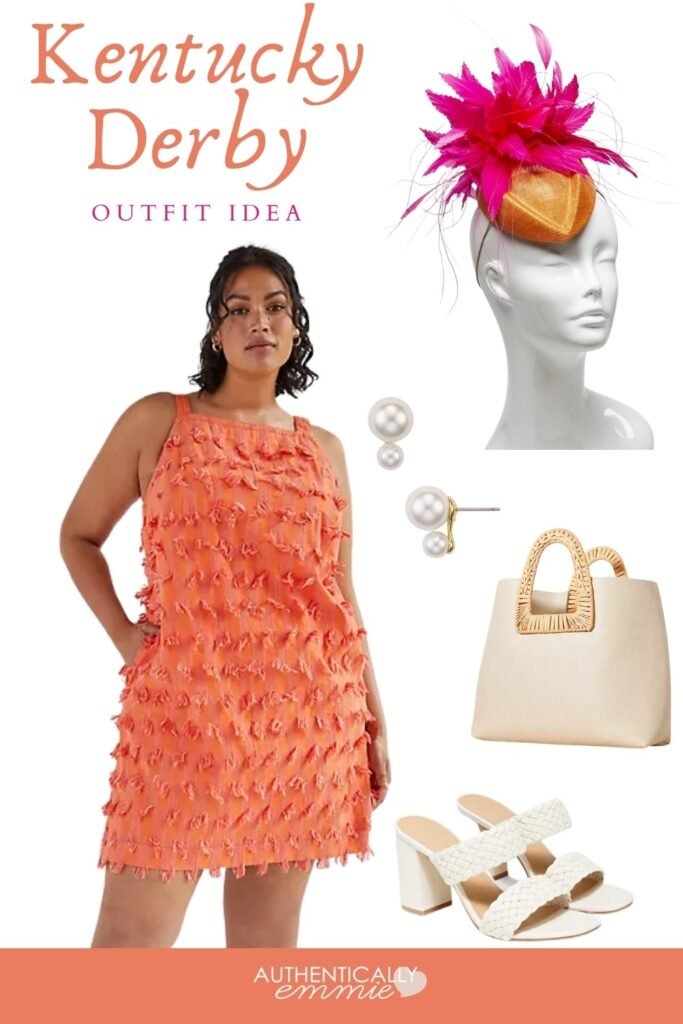Orange and pink Kentucky Derby outfit idea available in plus sizes